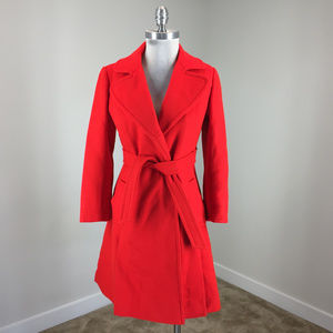 Vintage XS S Red Wool Wrap Trench Day Coat